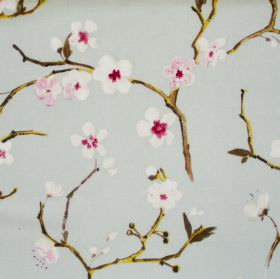 Emi - Duck Egg - Duck egg blue fabric with white flowers on branches