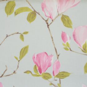 Sayuri - Duck Egg - Duck egg blue fabric with pink flowers