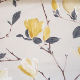 Sayuri - Mimosa - White fabric with mimosa yellow flowers on branches