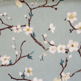 Emi - Marine - Marine blue fabric with white flowers on branches