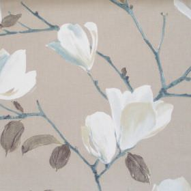 Sayuri - Marine - Deep sandy fabric with white flowers on marine blue branches