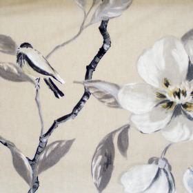 Chinoise - Parchment - Floral patterned fabric made from 100% cotton, with flowers, branches and leaves in light, classic shades of grey