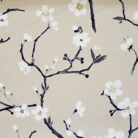 Emi - Parchment - Parchment white fabric with white flowers on branches