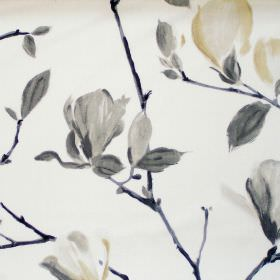 Sayuri - Onyx - White fabric with onyx black flowers on branches