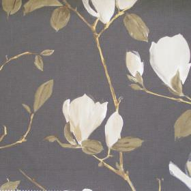 Sayuri - Pewter - Pewter grey fabric with white flowers on branches