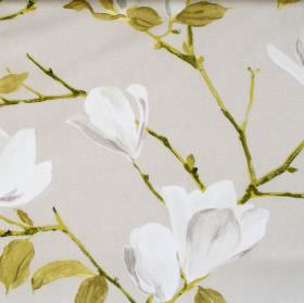 Sayuri - Linen - Linen coloured fabric with flowers on branches