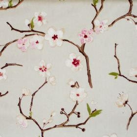 Emi - Chintz - Light green fabric with chintz pink flowers on branches