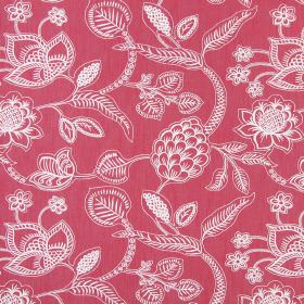 Phoenix - Cranberry - Pink and white cotton fabric with a detailed, lined design of flowers and leaves