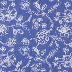 Phoenix - Denim - Detailed flowers and leaves designed with simple white lines on a navy blue cotton fabric background