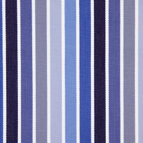 Houston - Colonial - Fabric made from cotton with a simple striped design in white, two shades of grey and four different shades of blue