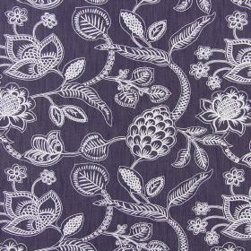 Phoenix - Navy - White and very pale lilac lines making up a detailed pattern of flowers and leaves on dark blue-grey cotton fabric