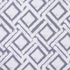 Colorado - Colonial - Long diagonal dashes printed in white, with squares, on dark grey-purple cotton fabric