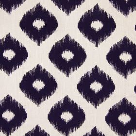 Austin - Navy - Wide, wavy, light grey lines and dots with undefined edges on a navy blue fabric background