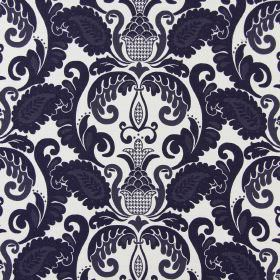 Cheyenne - Navy - A very dark blue and grey pattern which is ornate and leafy, printed on cream coloured cotton fabric