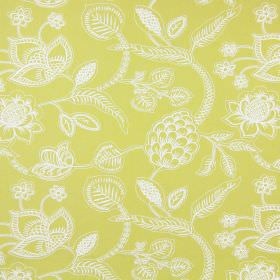 Phoenix - Citrus - Simple white lines making up a large, detailed pattern of flowers and leaves on green-yellow coloured cotton fabric