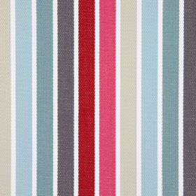 Houston - Cranberry - Cotton fabric in white, with a simple striped design including shades of grey, blue, pink and beige