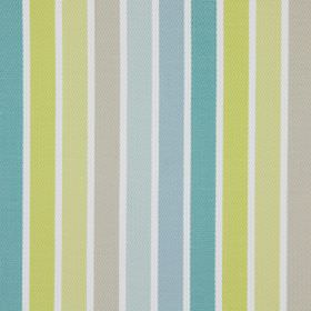 Houston - Citrus - White, blue-grey, light blue, turquoise, gold, light yellow and beige striped cotton fabric