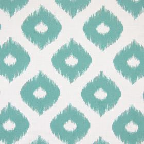Austin - Teal - Dots and wide, wavy lines with undefined edges printed on fabric in very light grey and turquoise colours