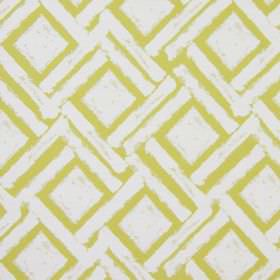 Colorado - Citrus - White cotton fabric printed with green-yellow coloured squares and long dashes which run diagonally in both directions