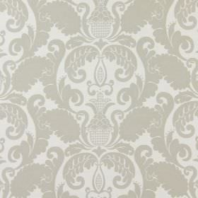 Cheyenne - Stone - A large pattern which is white, ornate and leafy, on a background of grey-beige coloured cotton fabric