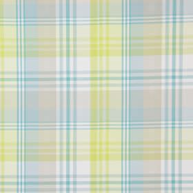 Tacoma - Citrus - Very pale shades of yellow, blue and red making up a checked design on a background of white cotton fabric
