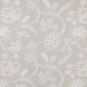 Phoenix - Stone - Floral and leaf patterned cotton fabric in very pale shades of grey and white