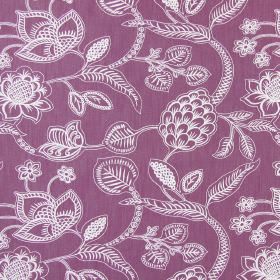 Phoenix - Mulberry - Cotton fabric in purple, with a floral and leaf design in white, which is both simple and detailed
