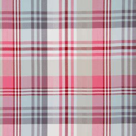 Tacoma - Cranberry - Pink, grey and white cotton fabric with a checked design