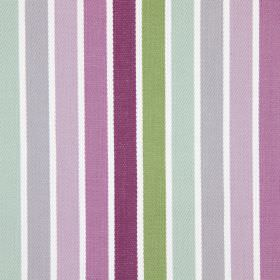 Houston - Mulberry - Stripes of purple fading through to stripes of green printed on a background of white fabric made from cotton