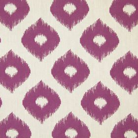 Austin - Mulberry - Purple fabric printed with wide, wavy lines and dots with undefined edges in a very pale shade of grey