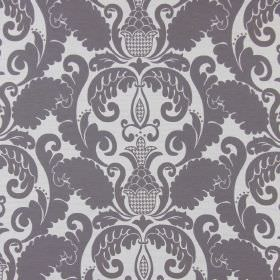Cheyenne - Slate - Dark grey cotton fabric patterned with a large, ornate, leafy design in white and very light grey
