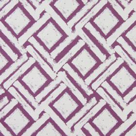 Colorado - Mulberry - Purple and white cotton fabric featuring a design of squares and long, diagonal dashes