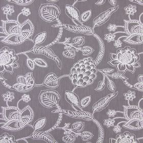 Phoenix - Slate - Light grey cotton fabric patterned with simple white and pale lilac lines making up a detailed floral and leaf design
