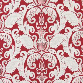 Cheyenne - Cranberry - Scarlet coloured cotton fabric printed with an ornate, leafy design in white and very pale grey