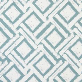Colorado - Azure - Roughly printed dusky blue coloured squares and diagonal dashes printed on a white cotton fabric background