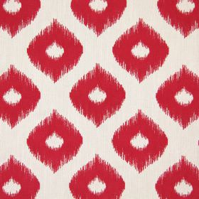 Austin - Cranberry - A simple design of thick, wavy lines and dots with undefined edges in very pale grey, printed on dark pink fabric