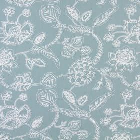 Phoenix - Azure - Dusky blue cotton fabric with a large, detailed floral and leaf design made up of simple white lines
