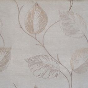 Astonish - Natural - Lightly stiched natural brown leaf impressions on white fabric