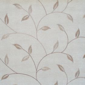 Allure - Natural - Natural sandy foliage and vine pattern on white fabric