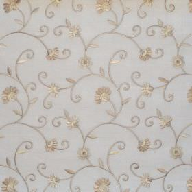 Captivate - Natural - White fabric with natural sandy country floral pattern