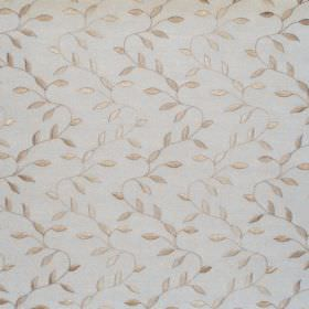 Intrigue - Natural - White fabric with natural white zigzag foliage pattern