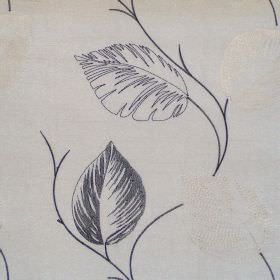 Astonish - Onyx - Lightly stiched onyx black leaf impressions on white fabric