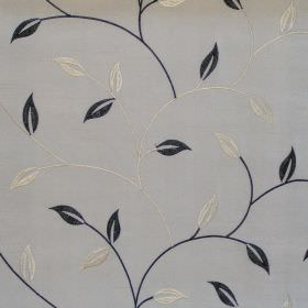Allure - Onyx - Onyx black foliage and vine pattern on white fabric