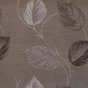 Astonish - Mocha - Lightly stiched brown leaf impressions on mocha brown fabric