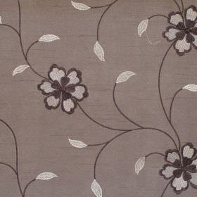 Amaze - Mocha - Black flowers on vines on mocha brown fabric