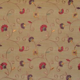 Captivate - Russet - Sandy fabric with russet brown country floral pattern