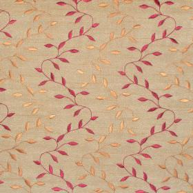 Intrigue - Russet - Russet brown fabric with red zigzag foliage pattern