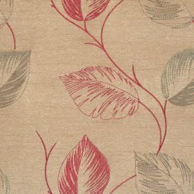 Astonish - Russet - Lightly stiched red leaf impressions on russet brown fabric