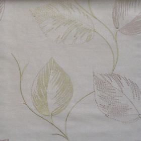 Astonish - Pistachio - Lightly stiched pistachio yellow leaf impressions on white fabric