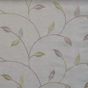 Allure - Pistachio - Pistachio green foliage and vine pattern on white fabric